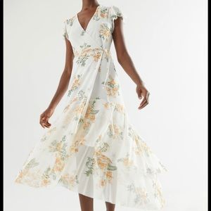 Urban outfitters white floral maxi wrap dress